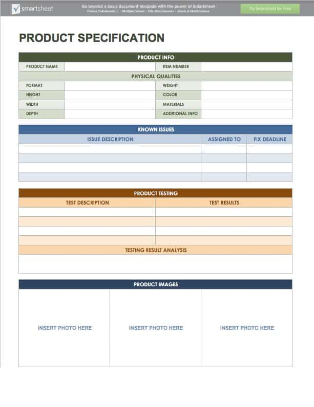 IC ProductSpecification  Info Sheet Template