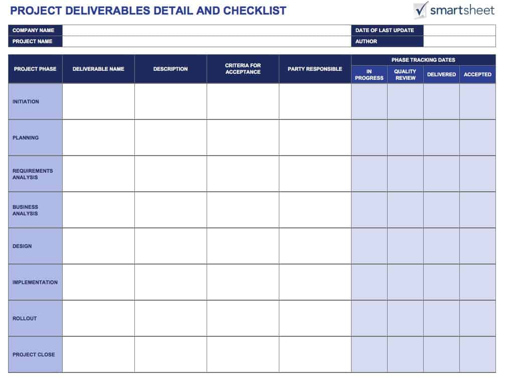 Tools for Defining and Tracking Project Deliverables | Smartsheet