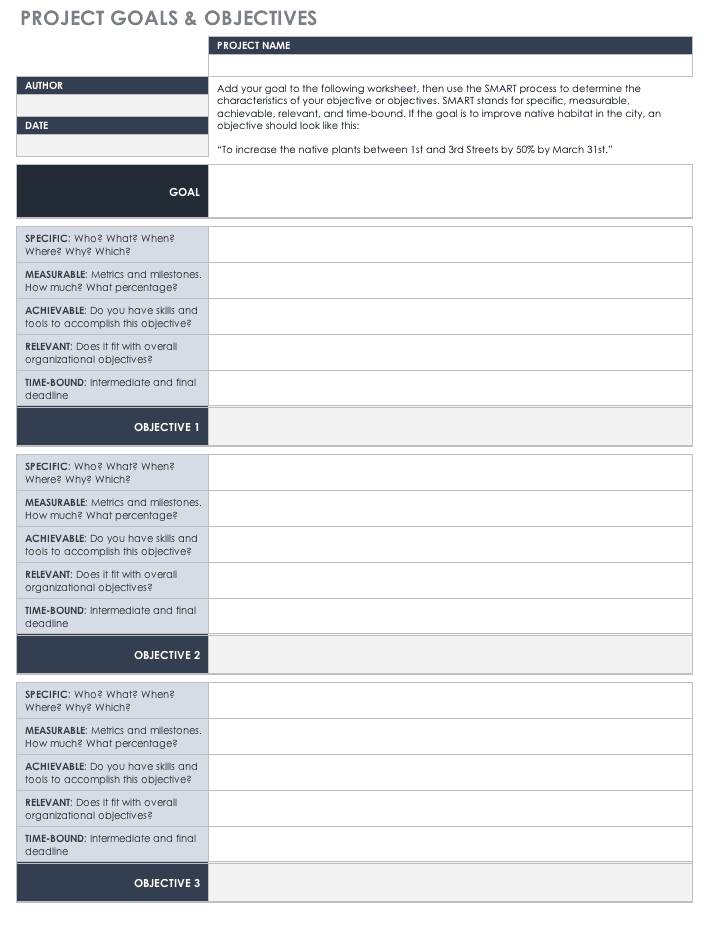 goals and objectives template excel - free goal setting and tracking templates smartsheet
