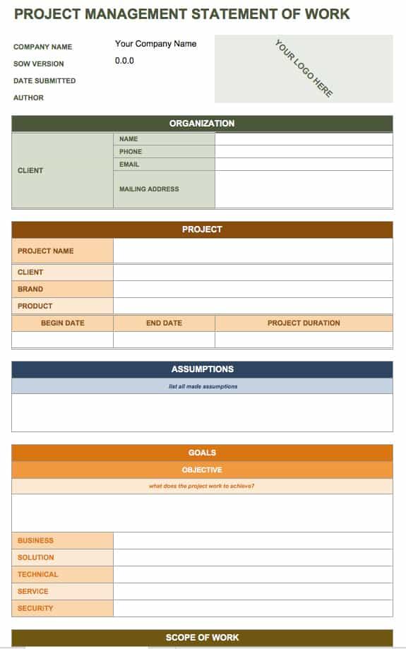 Free Statement of Work Templates Smartsheet – Statement of Work Word Template