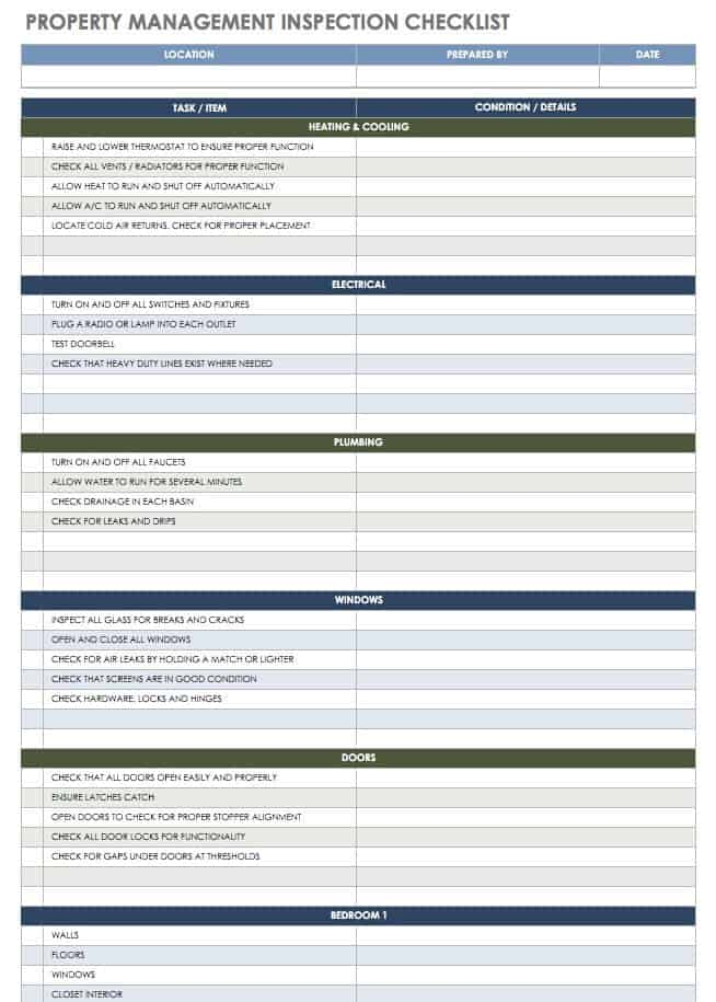 Property Management Inspection Checklist Template