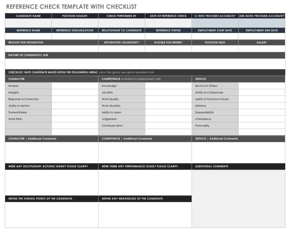 Free Reference Check Forms  Smartsheet
