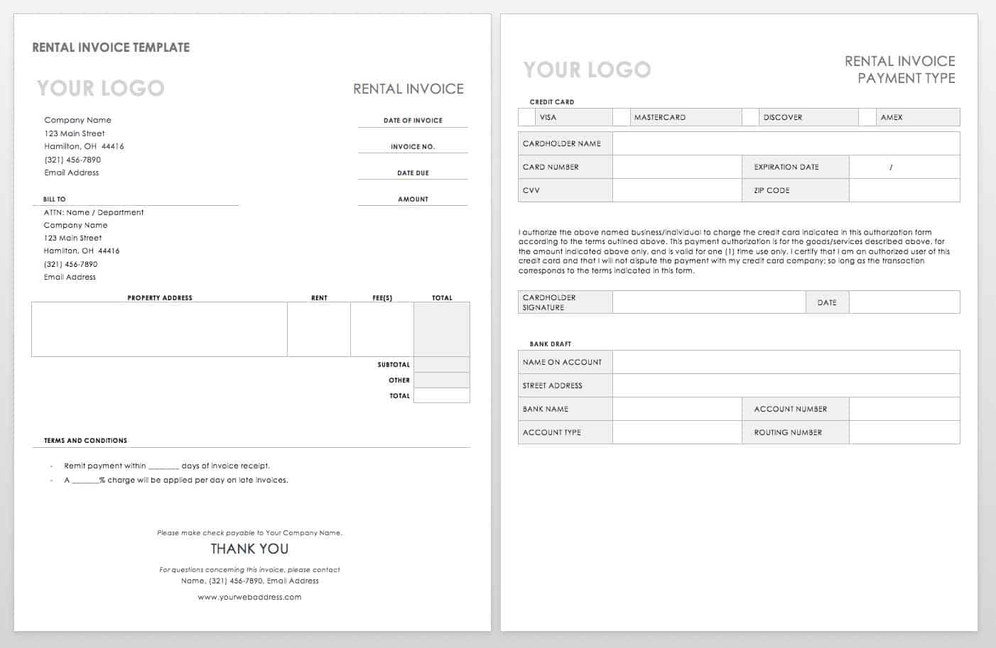 line card template word