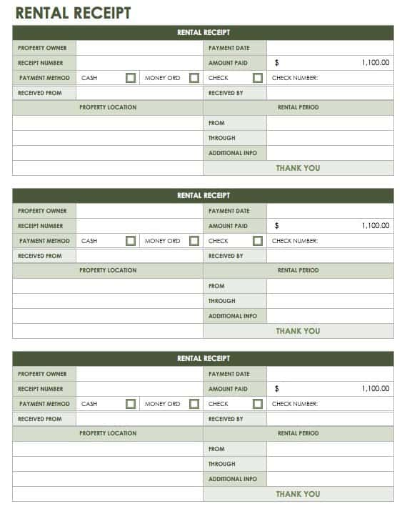 13 Free Business Receipt Templates Smartsheet – Room Rental Receipt