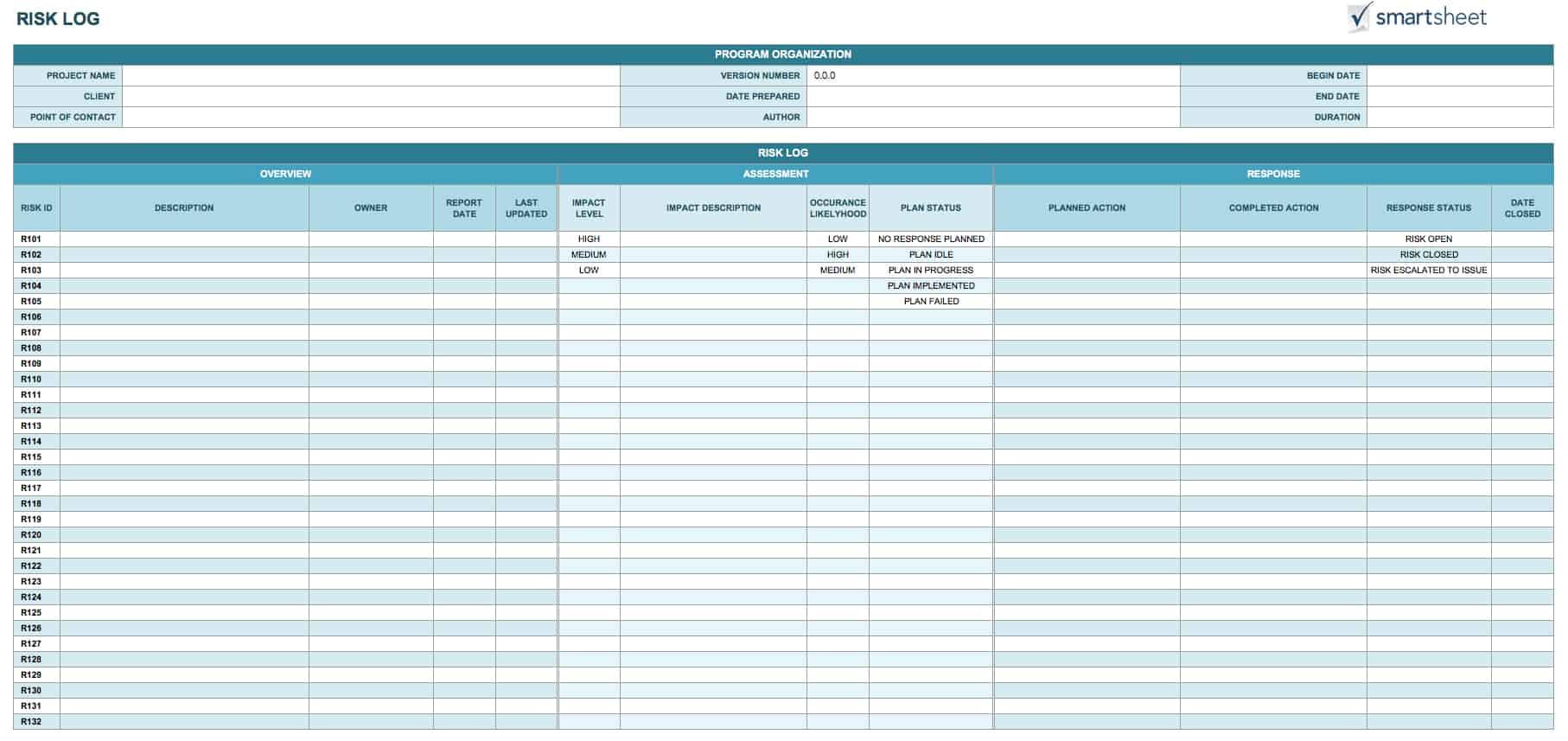 14 Free Program Management Templates Smartsheet – Action Log Template