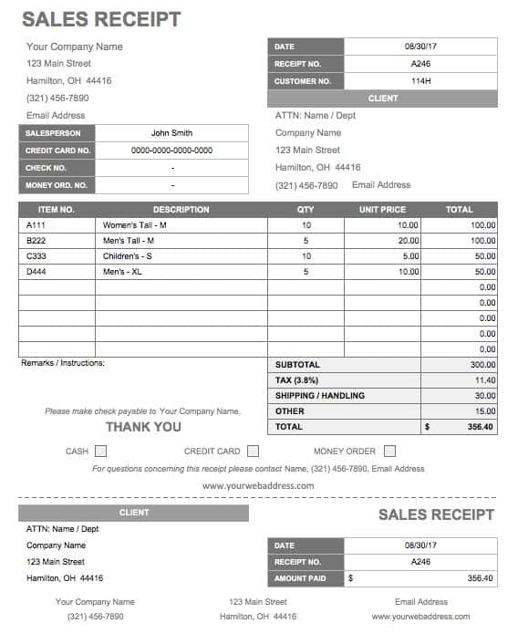 13 Free Business Receipt Templates Smartsheet – Sample Receipts Templates