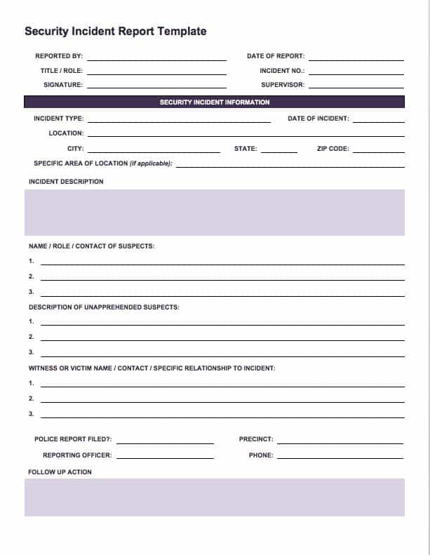 Superb IC Security Incident Reporting Form Within Free Printable Incident Reports