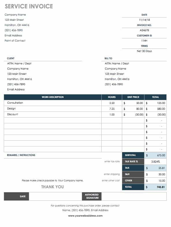Free Purchase Order Templates Smartsheet - Process server invoice template
