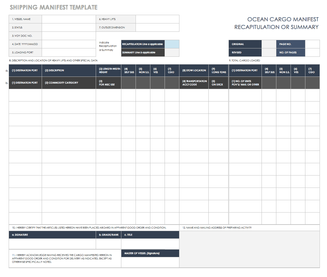 free shipping and packing templates smartsheet