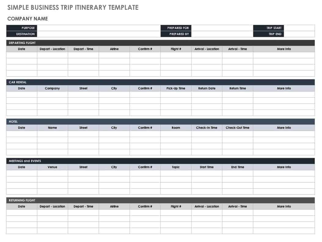 Free itinerary templates smartsheet simple business trip itinerary flashek Images