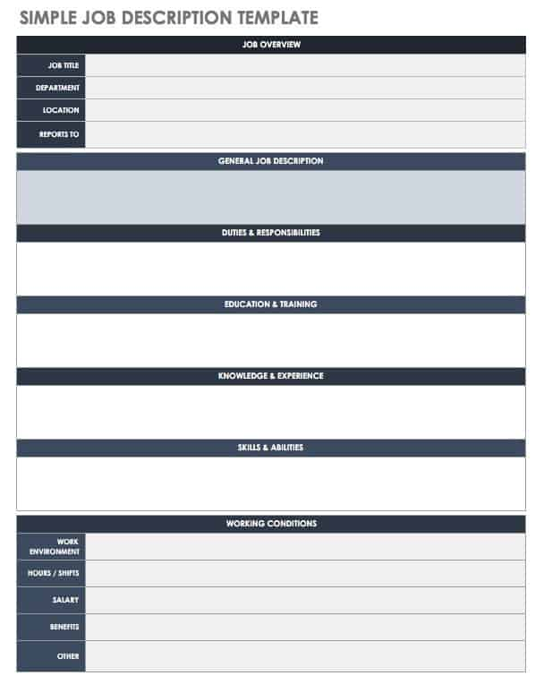 Free job description templates smartsheet for Creating job descriptions template