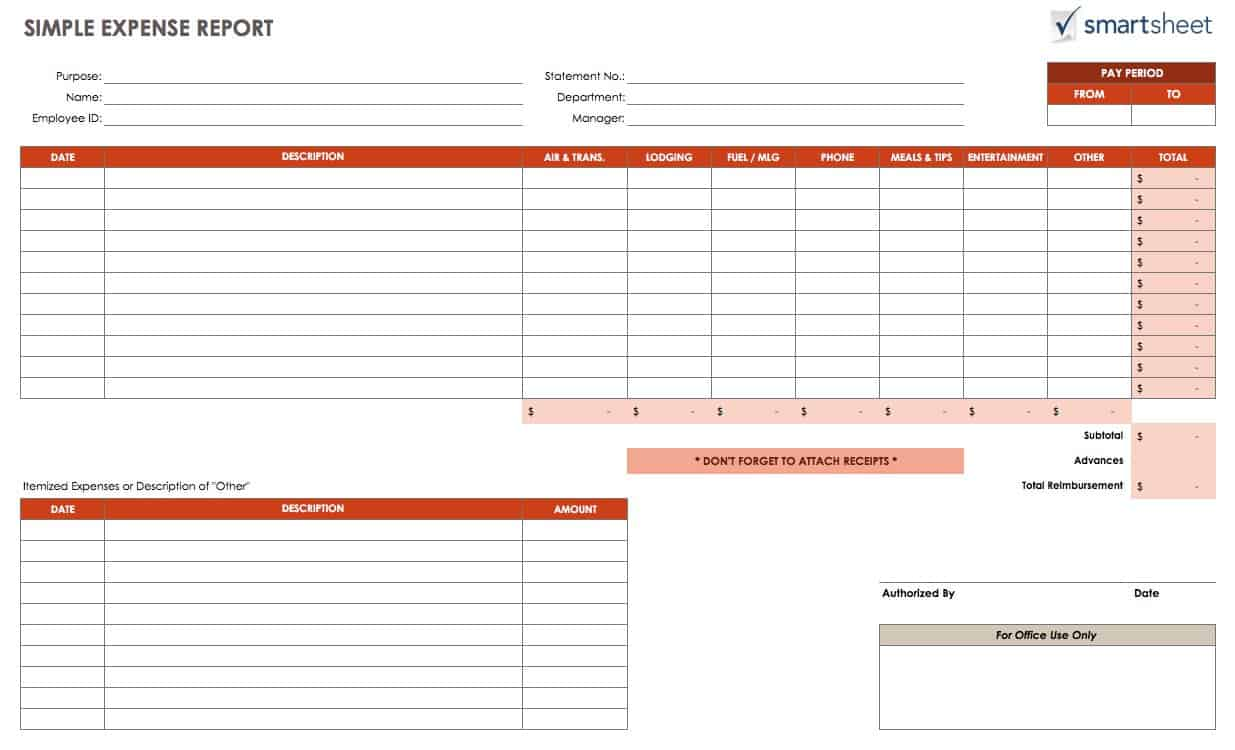 Beautiful IC SimpleExpenseReport. This Expense Report Is A Simple Spreadsheet  Template ...  Expense Sheet Template