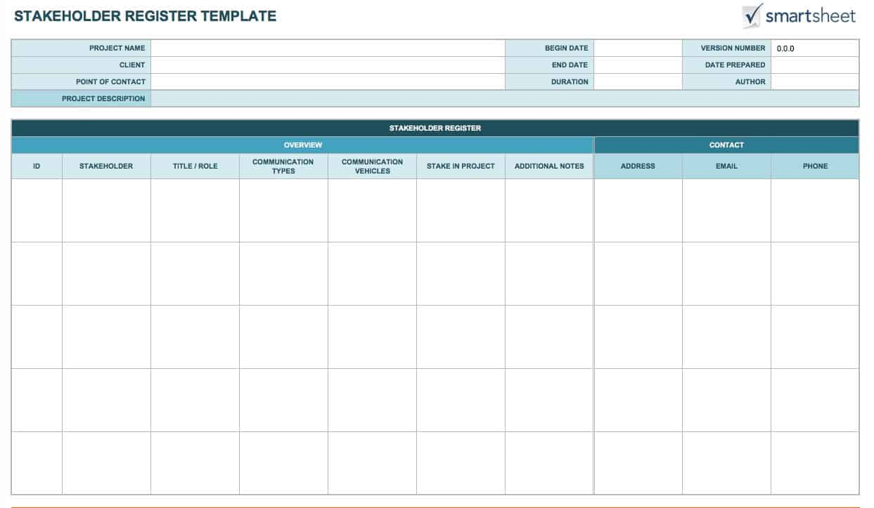 Free stakeholder analysis templates smartsheet for Key register template free