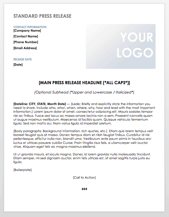 Free press release templates smartsheet for Event press release template word
