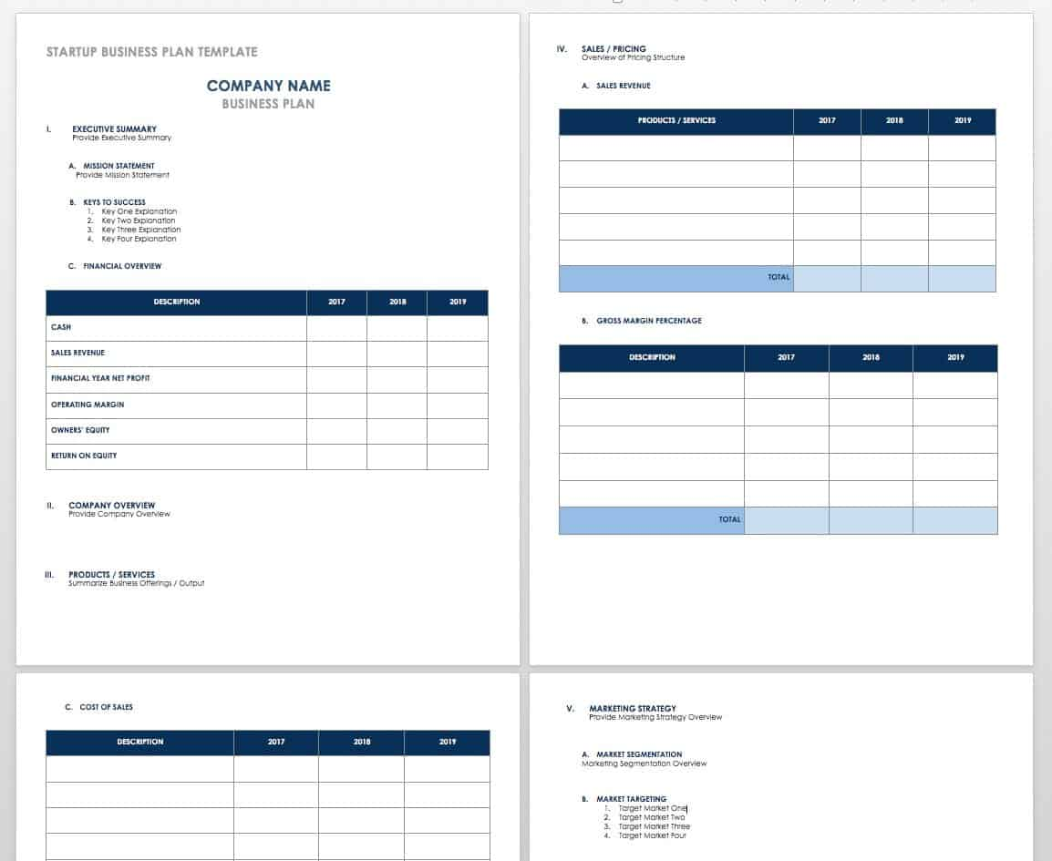 Free Startup Plan Budget Cost Templates Smartsheet - Business plan template for startup