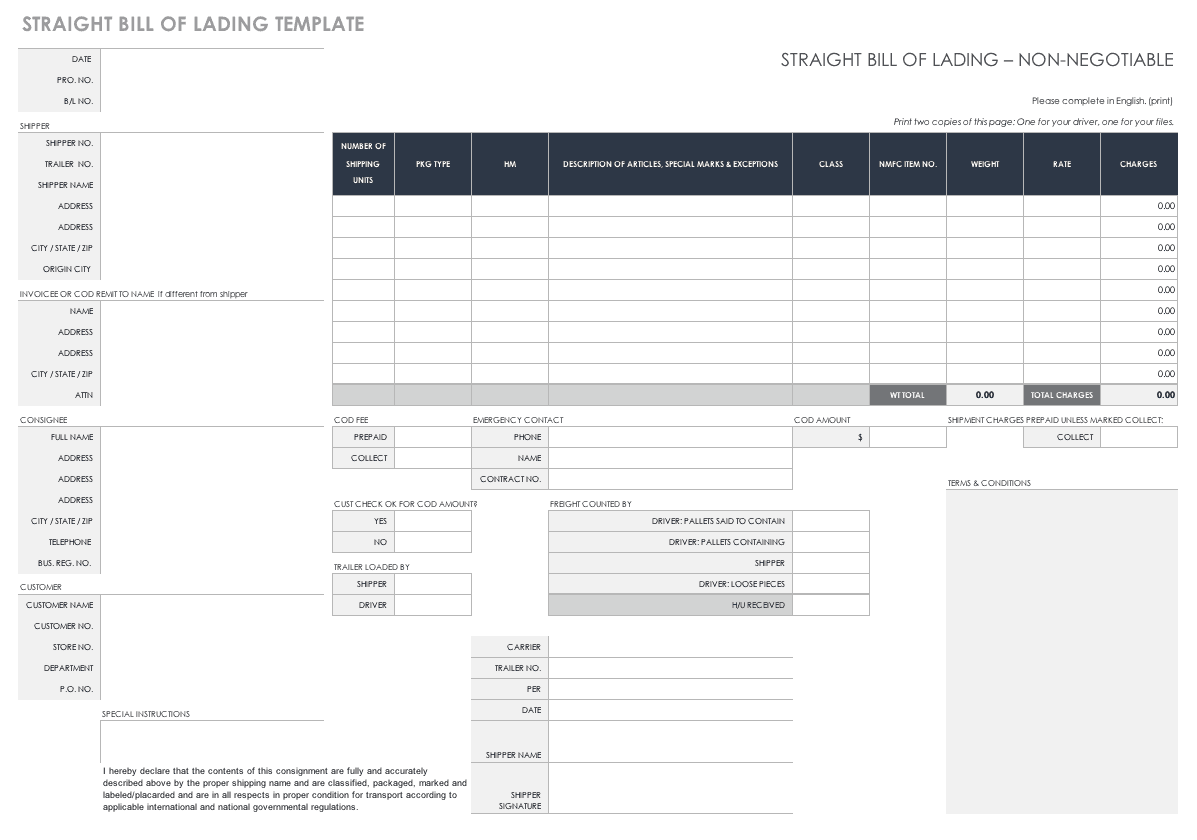 Free Bill Of Lading Templates Smartsheet