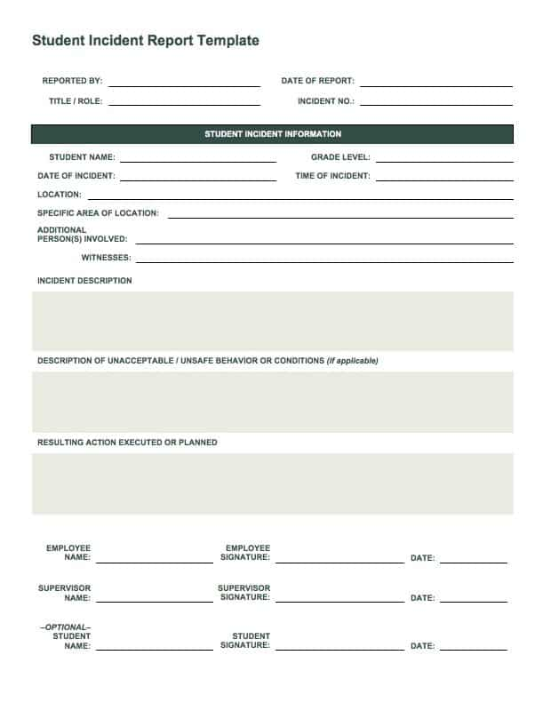Charming IC Student Incident Report Idea Incident Form Template