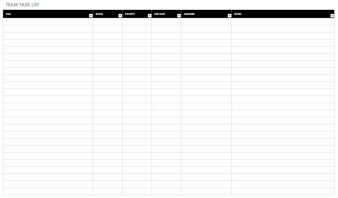 incroyable Team Task List Template