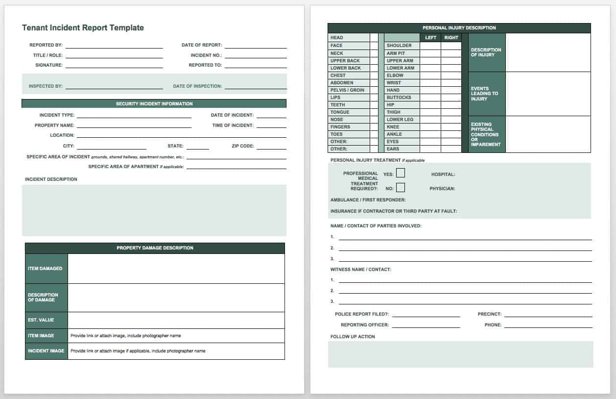 IC Tenant Incident Report  Free Printable Incident Reports