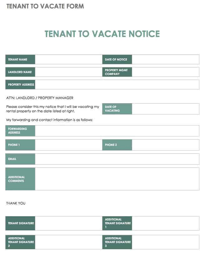 Tenant to Vacate Form Template