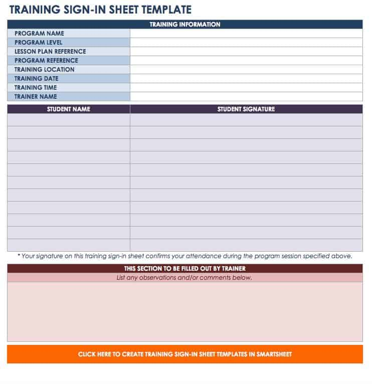 Free SignIn And SignUp Sheet Templates  Smartsheet