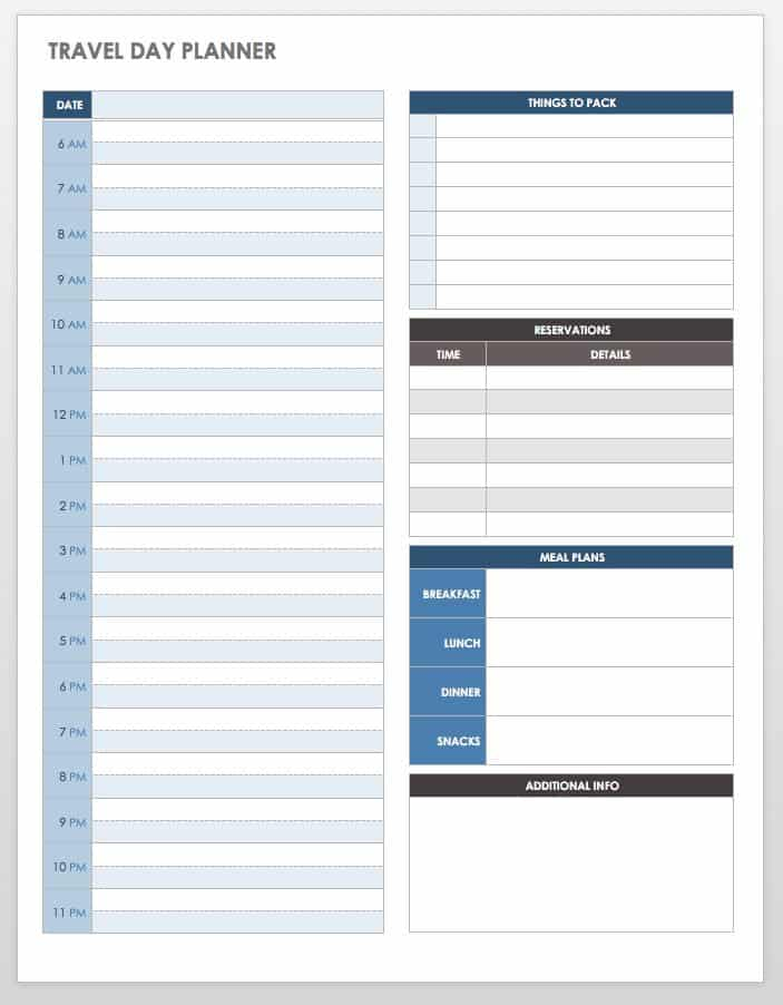 travel plan template excel