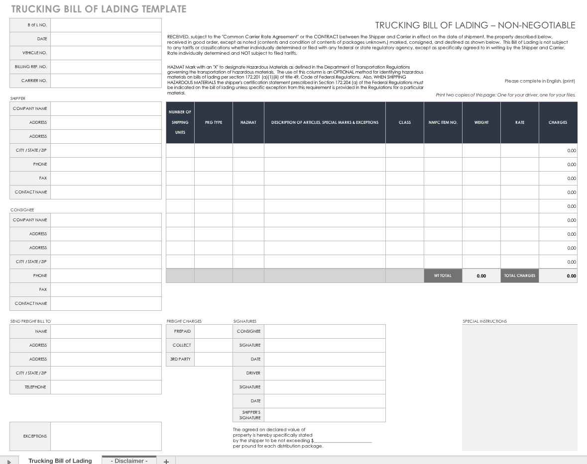 Free Bill Of Lading Templates