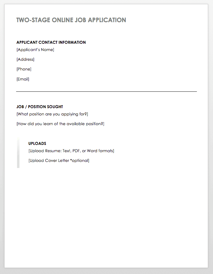 free employment application templates smartsheet