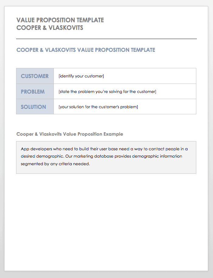 Free Value Proposition Templates Smartsheet