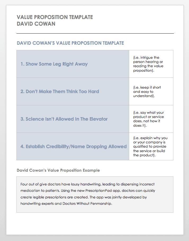 Free Value Proposition Templates | Smartsheet