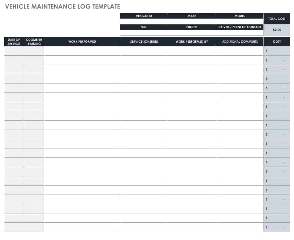 free mileage log templates smartsheet
