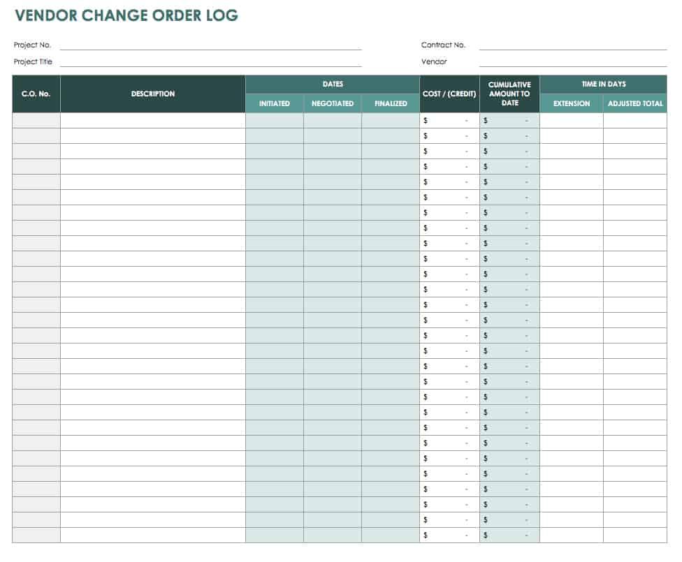 Vendor Change Order Log