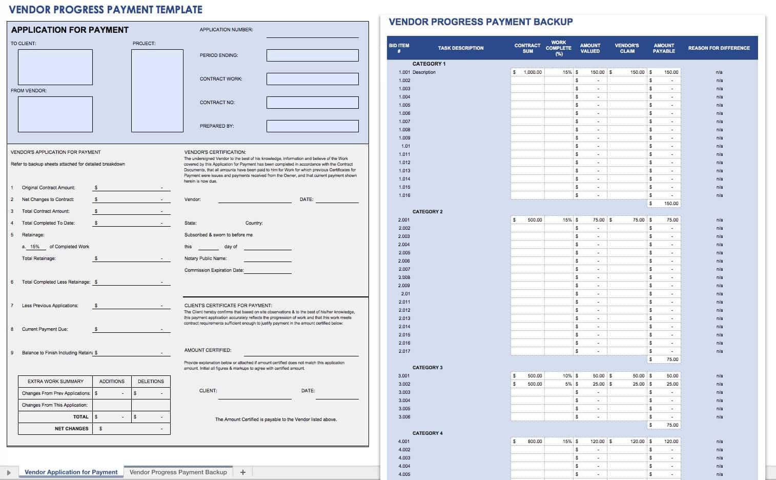 Vendor Progress Payment Template