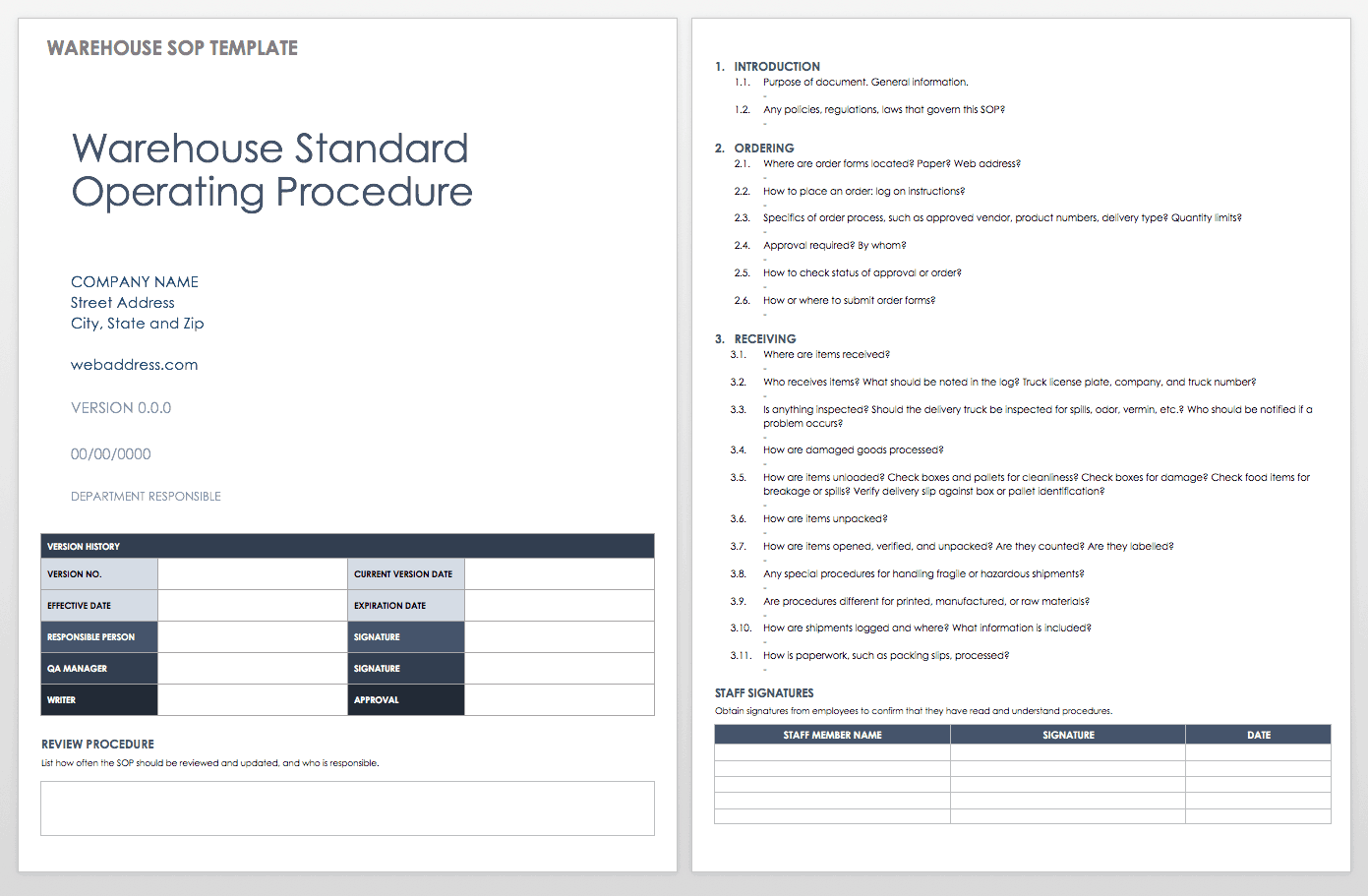Warehouse Standard Operating Procedure Template