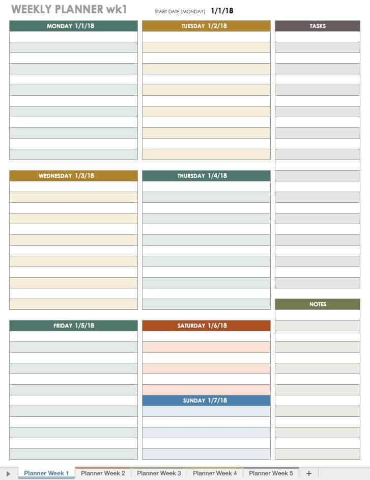 Free excel calendar templates for Week by week planner template