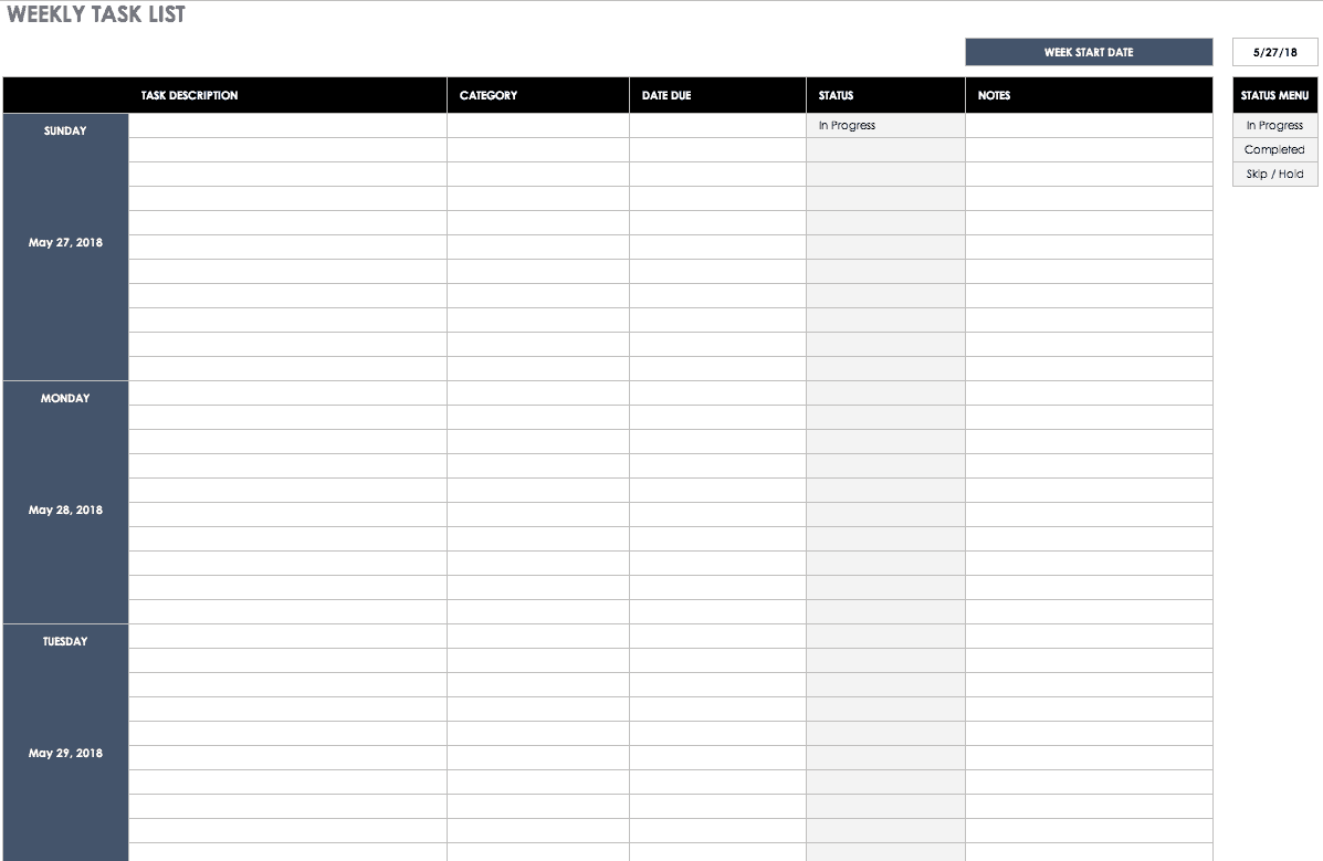 Weekly Task List Template