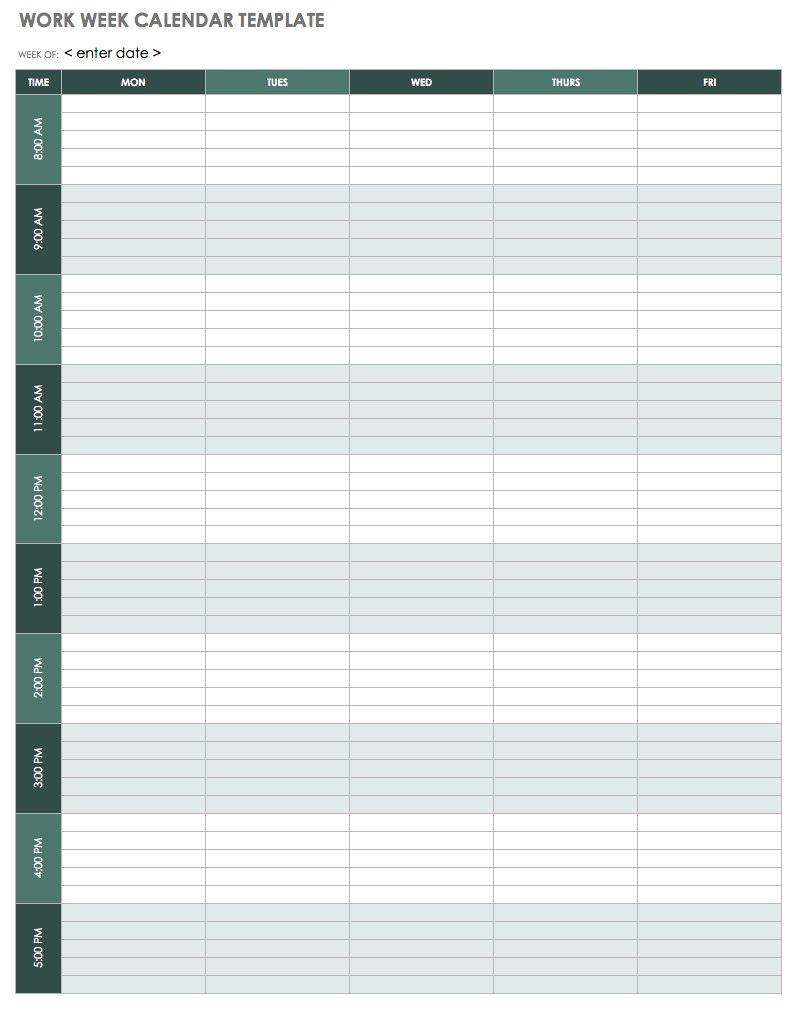 Work Week Calendar - Excel. Work Week Calendar Template