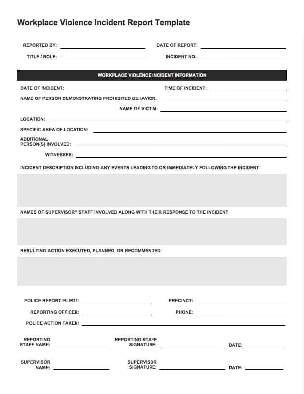 IC Workplace Violence Incident Report  Incident Report Form Template Word