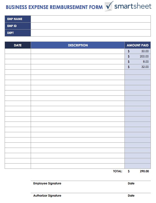 reimbursement form word template