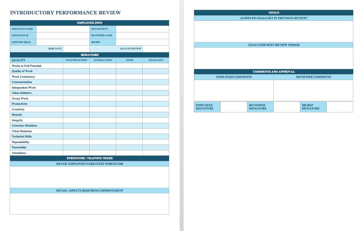 employee performance review templates smartsheet this performance review template offers a simple rating scale for new employees as well as space for providing open ended feedback listing goals