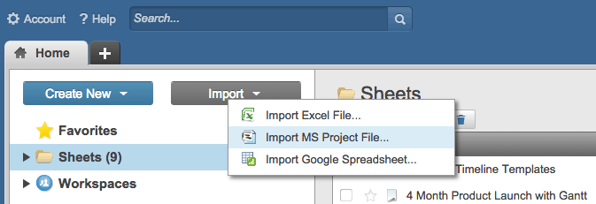 Import MS Project to Smartsheet