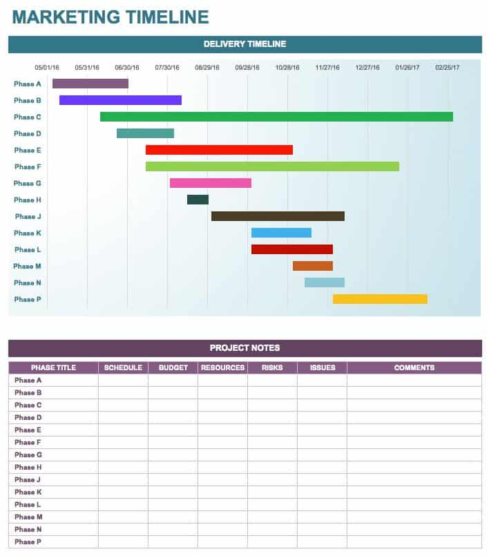 Good MarketingTimeline · Download Excel Template