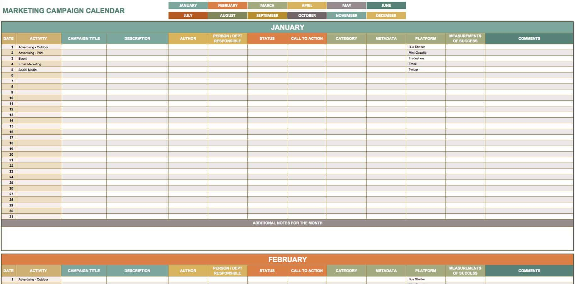 9 Free Marketing Calendar Templates for Excel Smartsheet – Sample Social Media Calendar