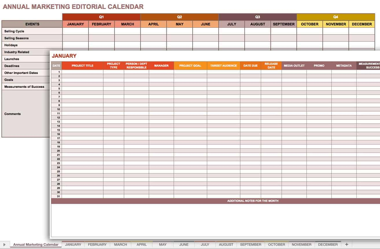 Marketing Editorial Calendar Template