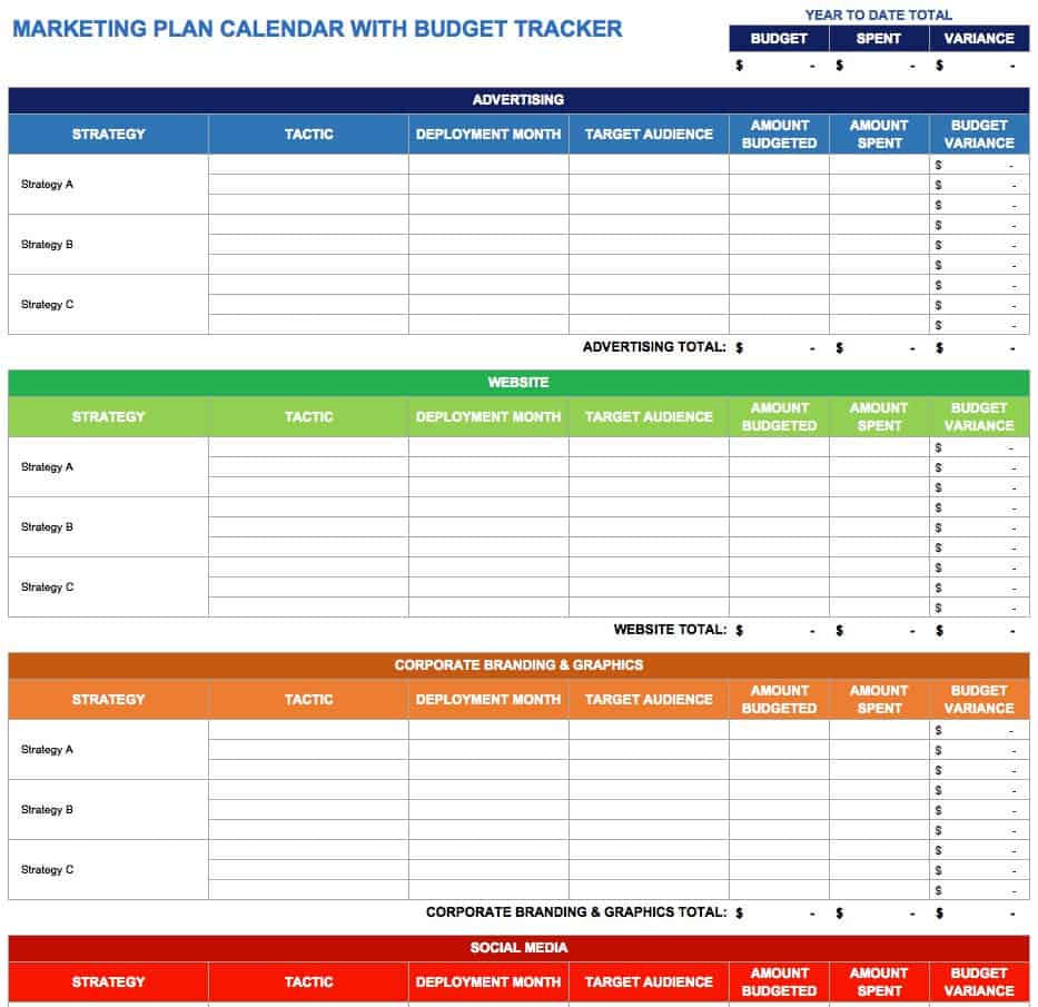 Marketing Plan Calendar With Budget Tracker. Use This Marketing Plan Calendar  Template ...