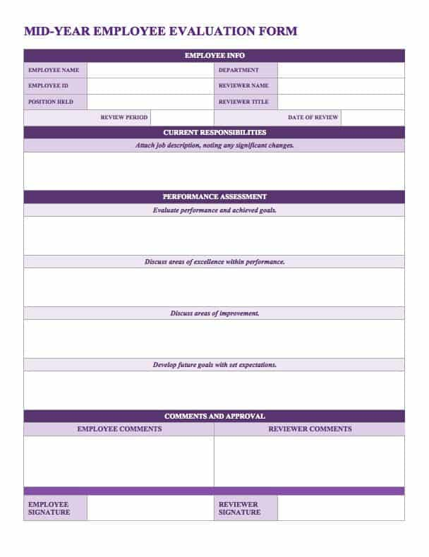 Employee Evaluation Forms Employee Evaluation Forms For