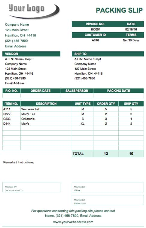 Packing Slip Templates. Free Packing Slip Template For Excel And