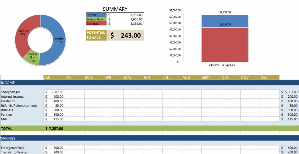 monthly budget worksheet excel