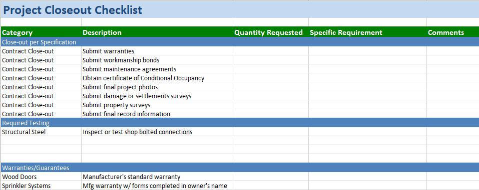 Free Construction Project Management Templates in Excel – Sample Project Checklist Template