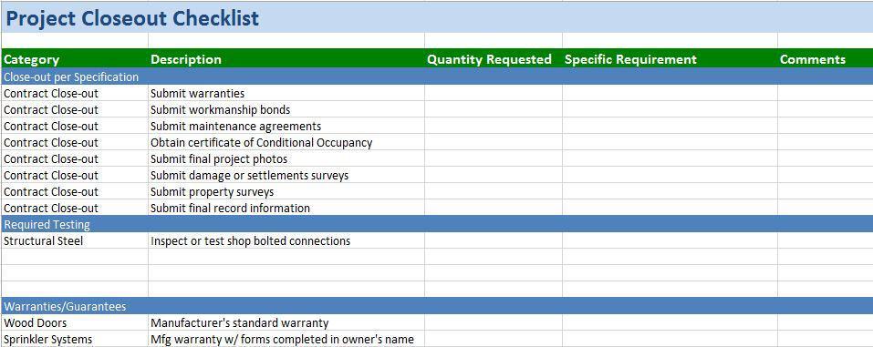 construction project management templates